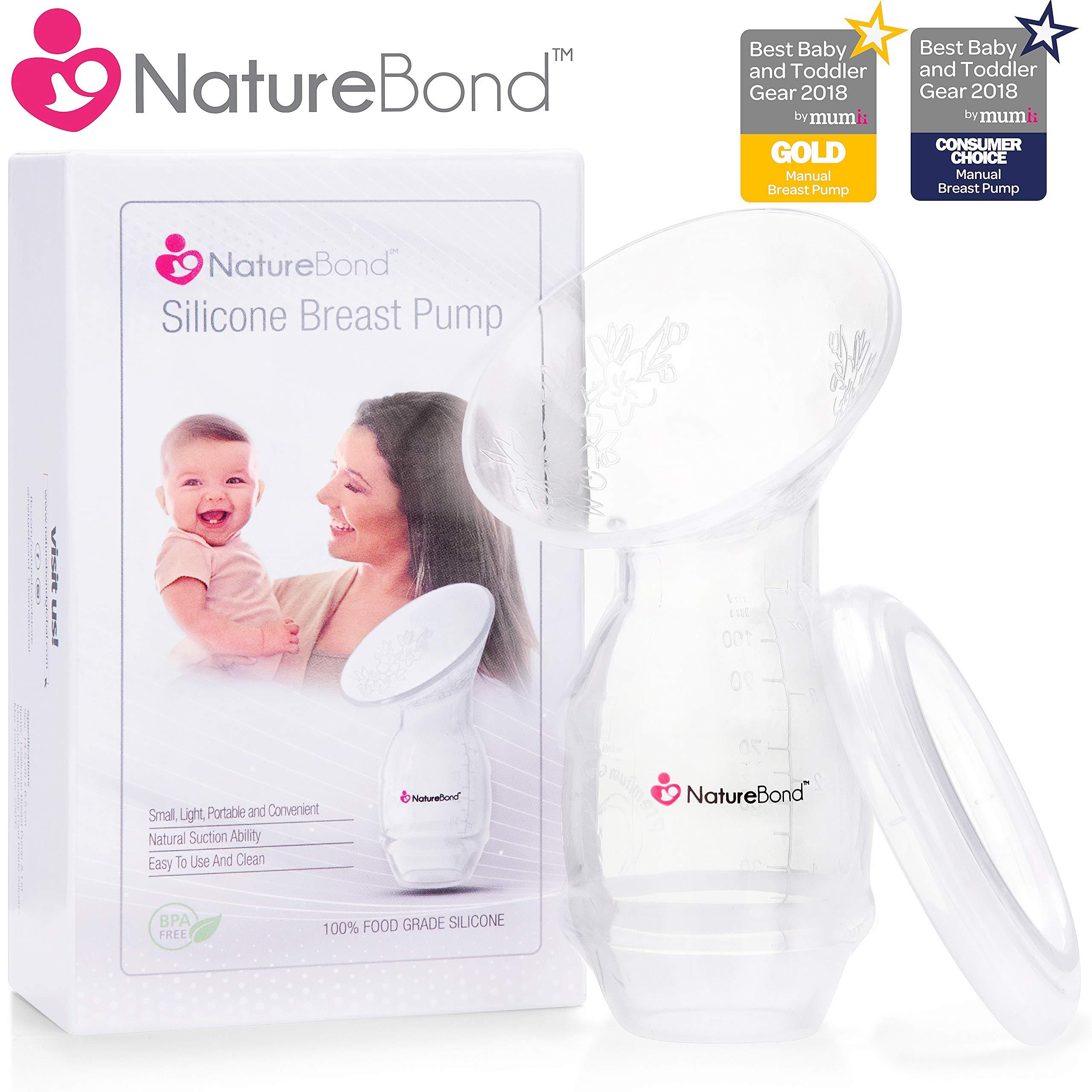 NatureBond Silicone Breastfeeding Manual Breast Pump Milk Saver Nursing Pump   Basic Pack Air-Tight Vacuum Sealed in Hardcover Gift Box. BPA Free by NatureBond