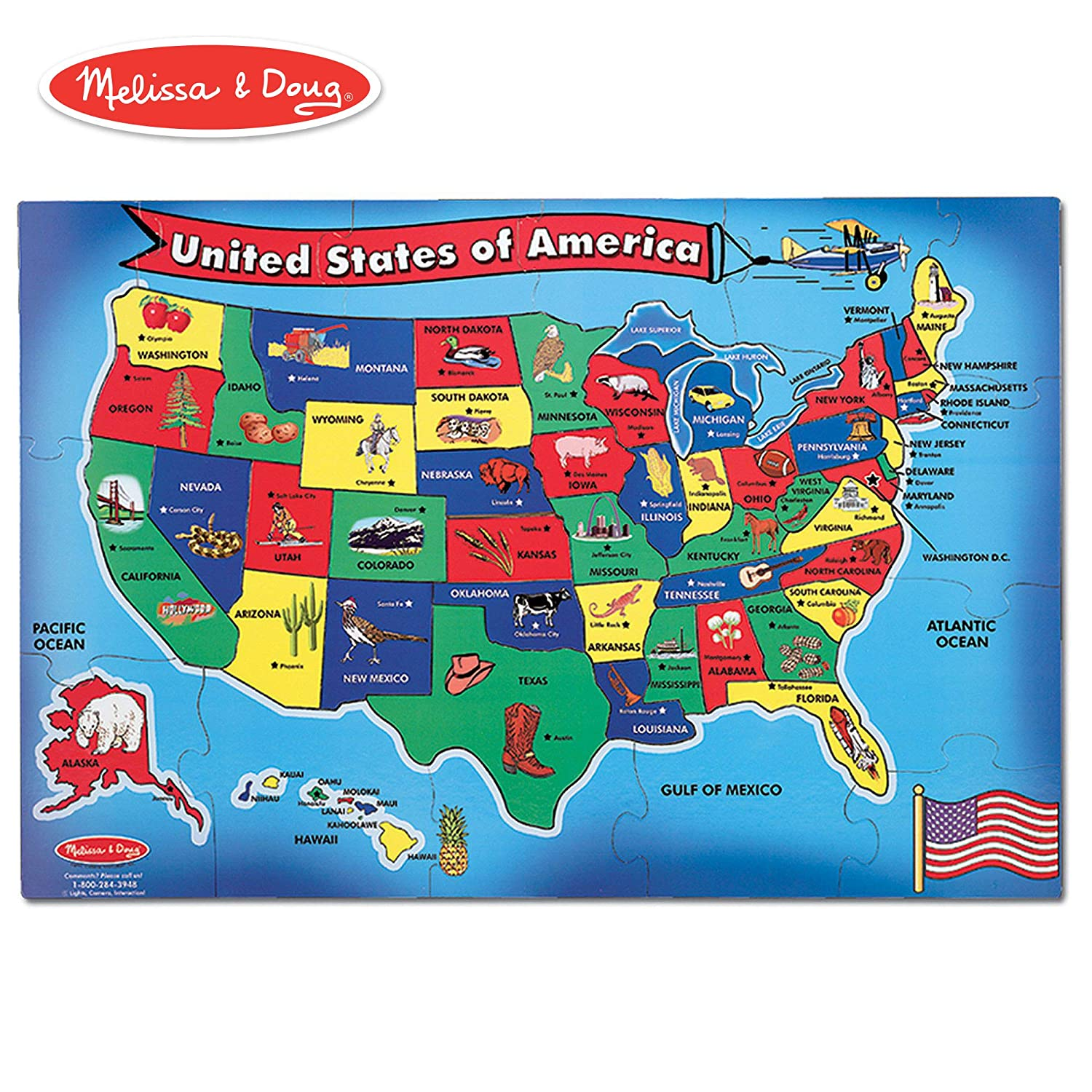 Amazon.com: Melissa & Doug USA (United States) Map Floor Puzzle ...