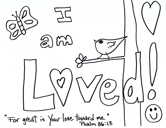Amazon.com: I am Loved! coloring page download, adult or child ...