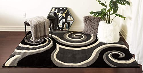 Home Must Haves Black 8×10 Super Soft Swirls 3-Dimentional Modern Contemporary Polyester Area Living Room Bedroom Floor Hand Carved Rug Carpet 8 x10