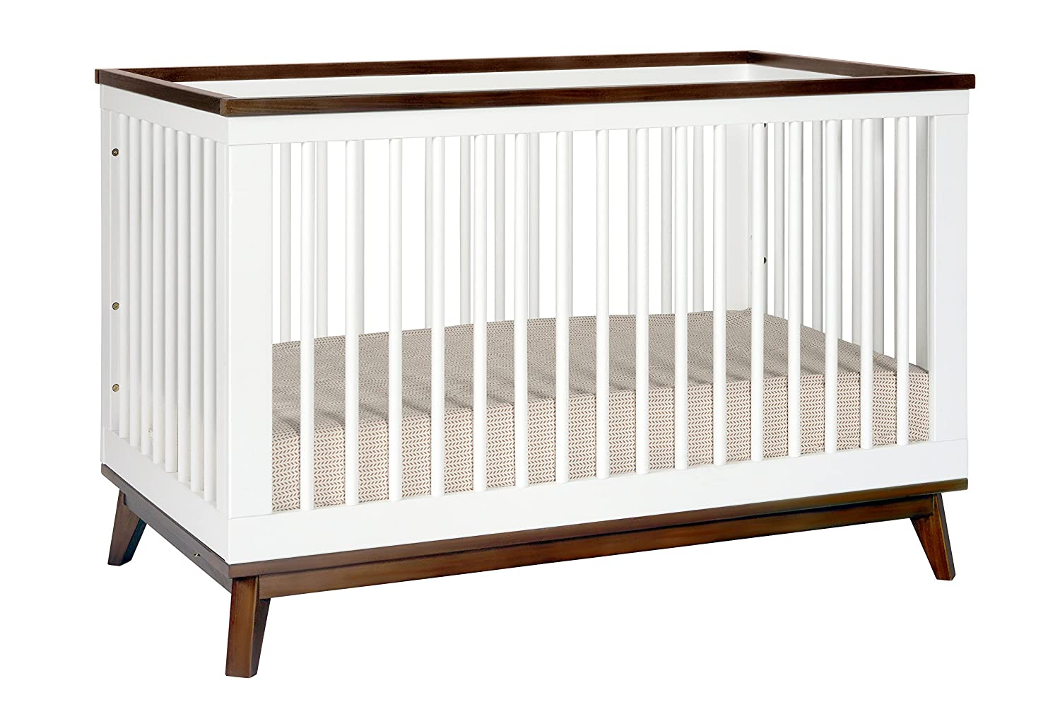 Babyletto Scoot 3-in-1 Convertible Crib with Toddler Bed Conversion Kit Walnut White