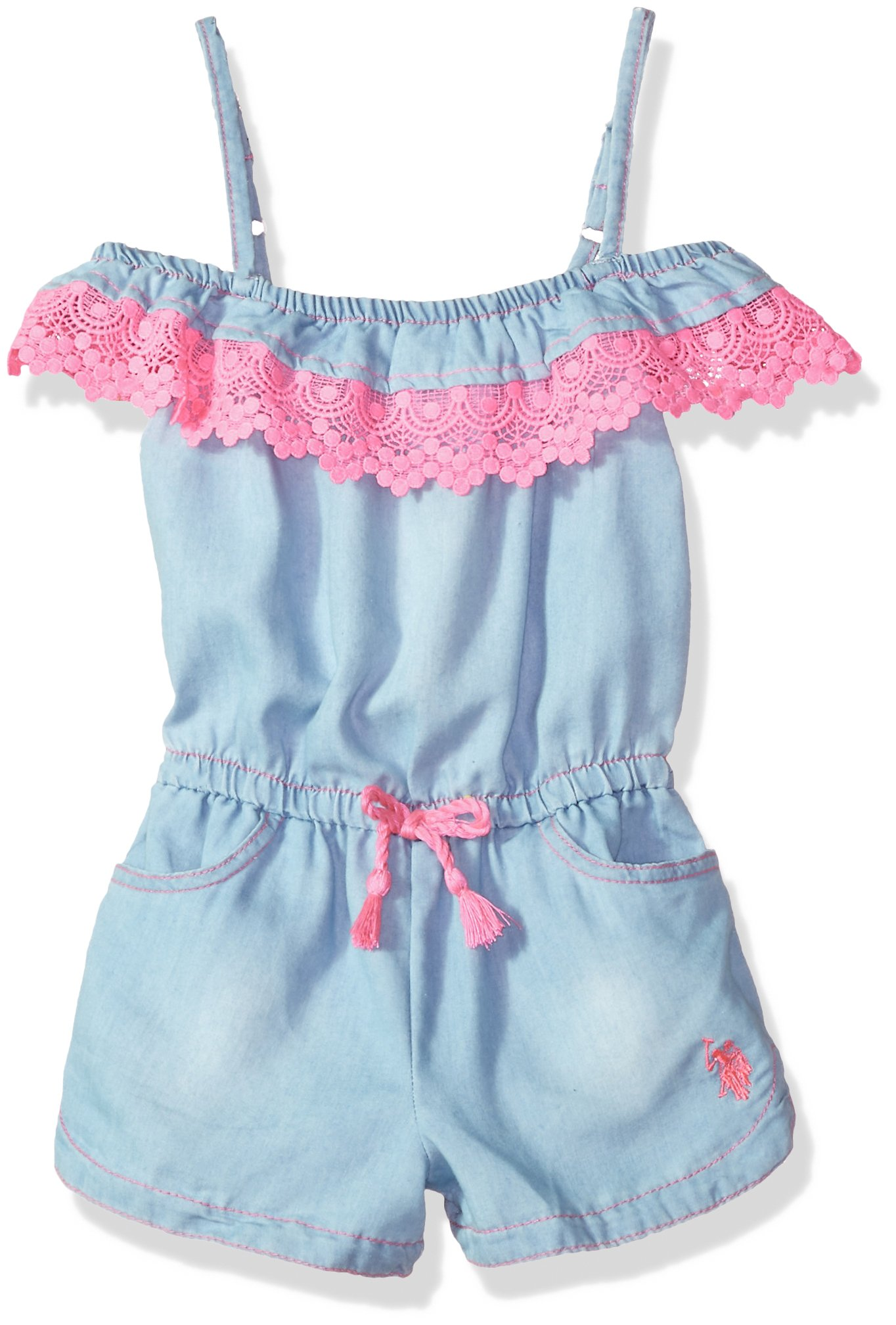 U.S. Polo Assn. Big Girls' Romper, Denim Lace Romper Light Wash, 8