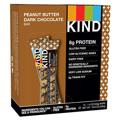 KIND Bars, Peanut Butter Dark Chocolate, Gluten Free, Low Sugar, 1.4oz, 12 Count