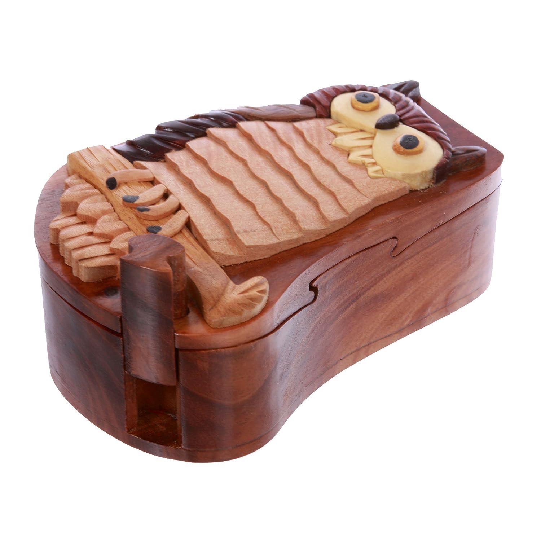 Owl Handcrafted Wooden Owl//Bird Shape Secret Jewelry Puzzle Box