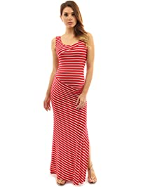 PattyBoutik Mama Striped Scoop Neck Maternity Maxi Dress Red And White XL