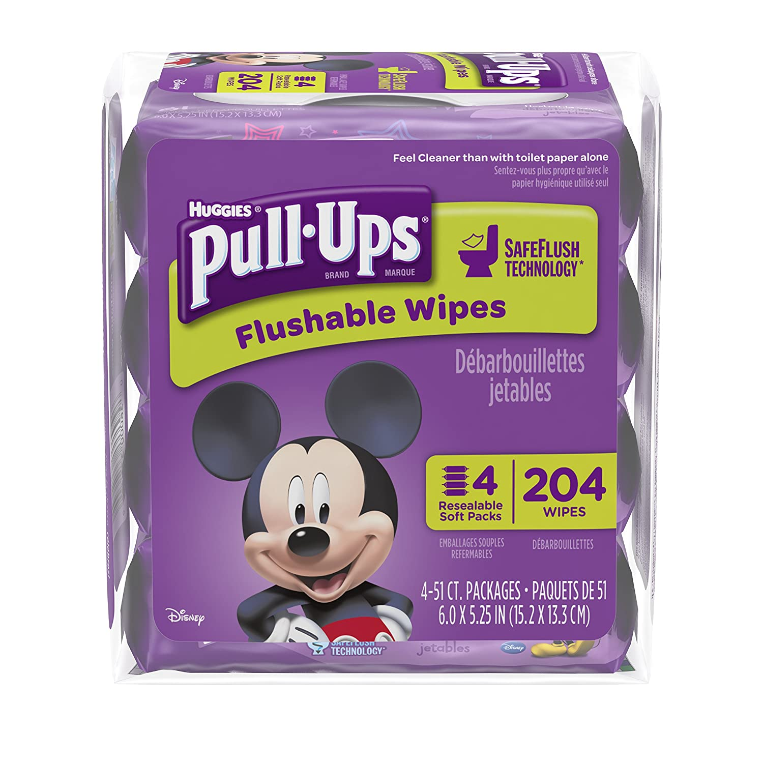 Pull Ups Flushable Moist Wipes Bundle 4-Pack of 51-Count, 204-Count 37264