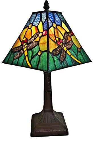 Amora Lighting Tiffany Style Mini Accent Lamp Mission 15 Tall Stained Glass Yellow Floral Flower Dragonfly Vintage Antique Light Bedroom Handmade Gift AM288TL08B, 8 Inches, Multicolor