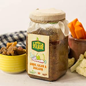 The Little Farm (Haryana) Gobhi Gajjar Shalgum Veg Mix Pickle, Farm Fresh, Indian Food Pickle - 400grams