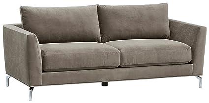 Rivet Emerly Modern Velvet Metal Leg Sofa, ...