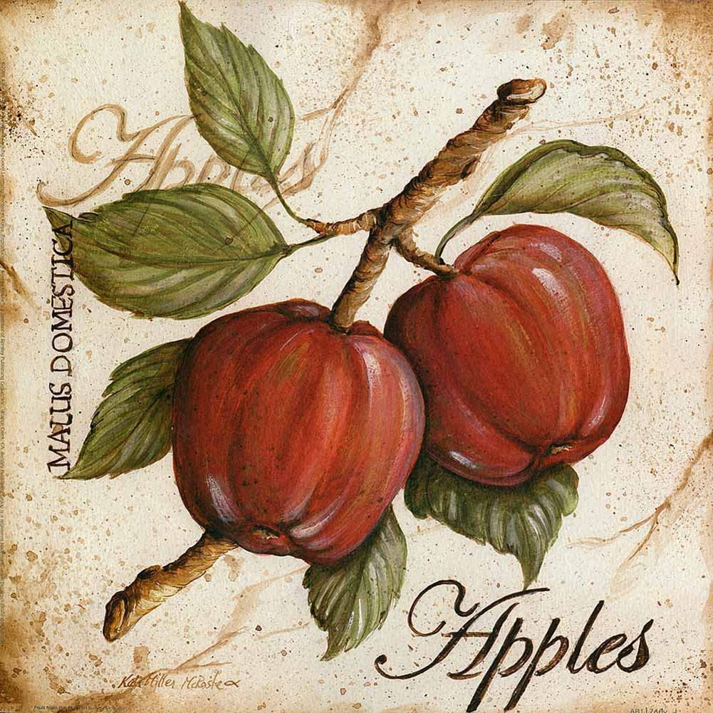 FAN C. Canvas Wall Art unframed – Apples Word Art Painting Prints – 40X40 cm (Approx. 16X16 inch)