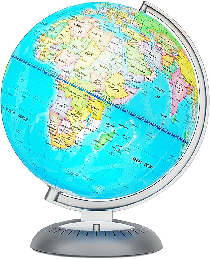 No Battery Required Night View Stars Constellation Pattern Globe with Detailed World Map,Built-in LED Bulb TTKTK Illuminated World Globe with Wooden Base Night Stand Decor 8inch Educational Gift