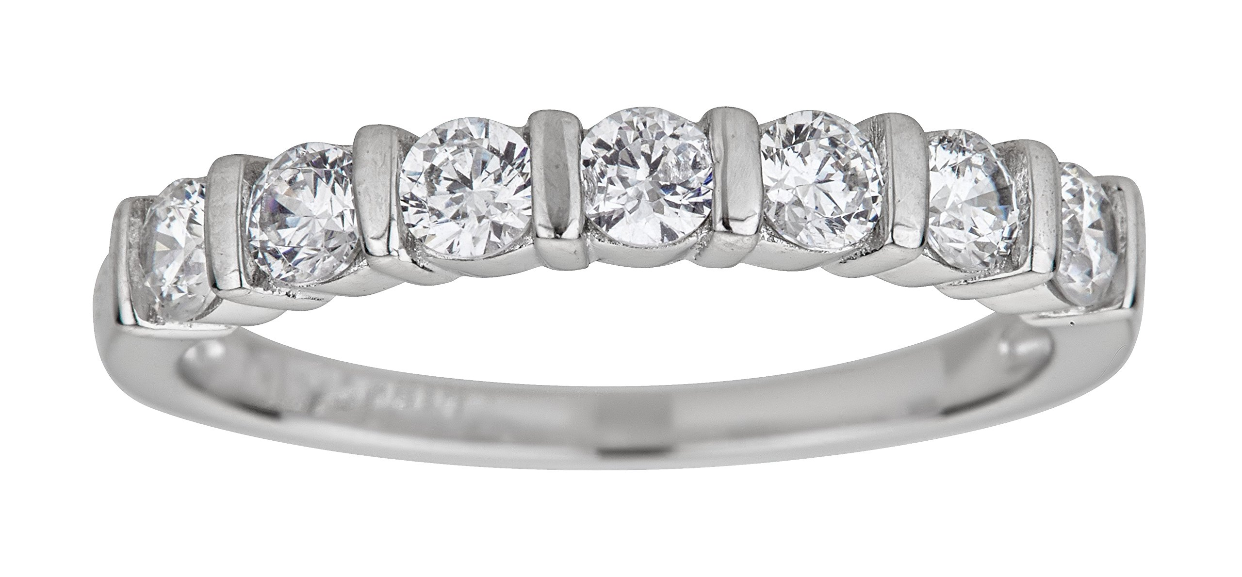 Sterling Silver Rhodium 3.00mm Round Cut Cubic Zirconia Seven 7 Stone Anniversary Band Ring,9