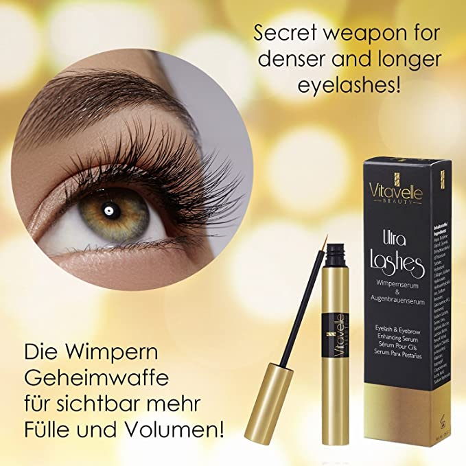 8e9e56cde8c Lash Growth Serum Eyelash Booster - for Long Lashes with Glycerin Hyaluron  Collagen Biotin | No Mascara | Ultra Lash 4 ml. Made in Germany:  Amazon.co.uk: ...