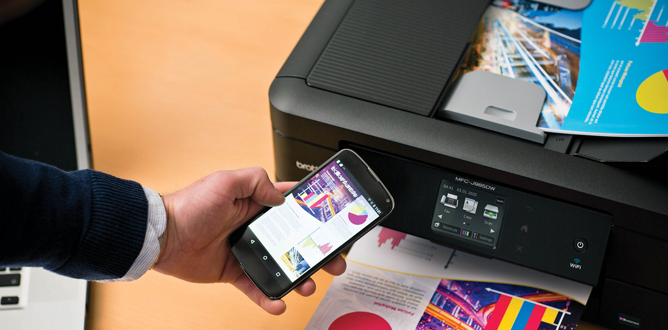 Brother MFC-J985DW Inkjet All-in-One Color Printer, Duplex, and Wireless, Amazon Dash Replenishment Enabled by Brother (Image #2)