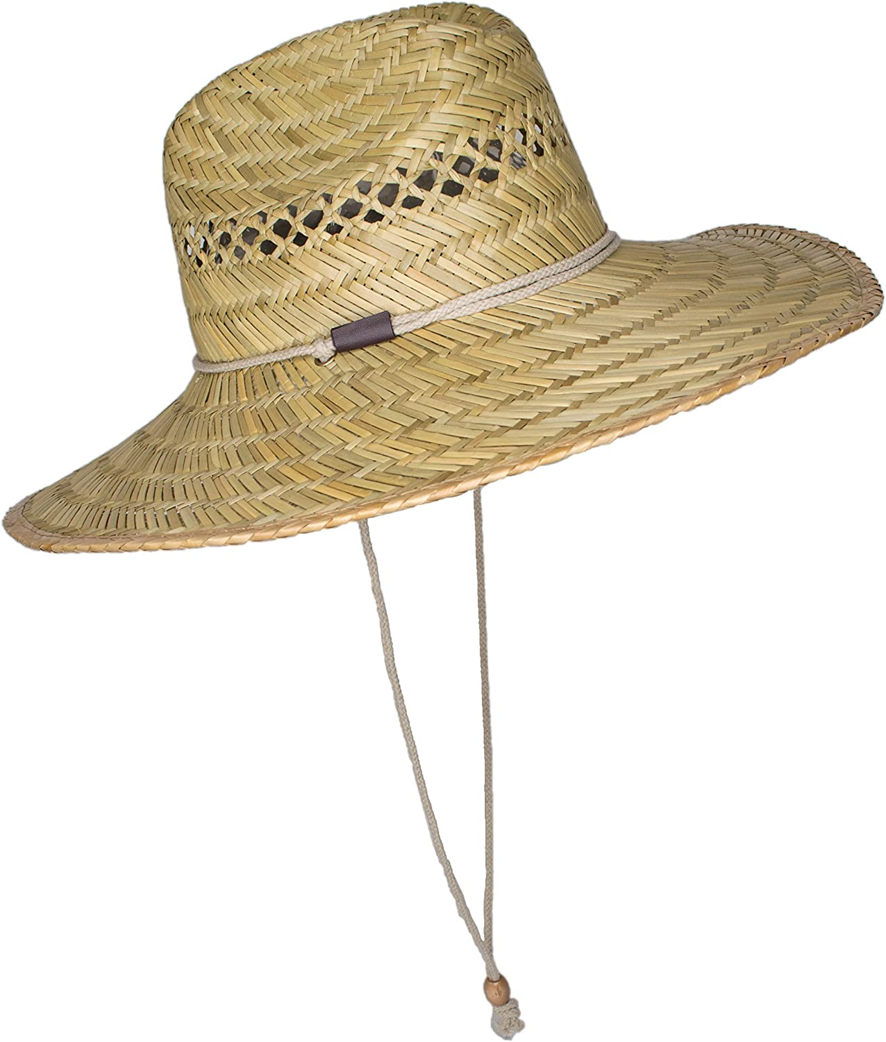 Mens Straw Outback Lifeguard Sun Hat with Wide Brim