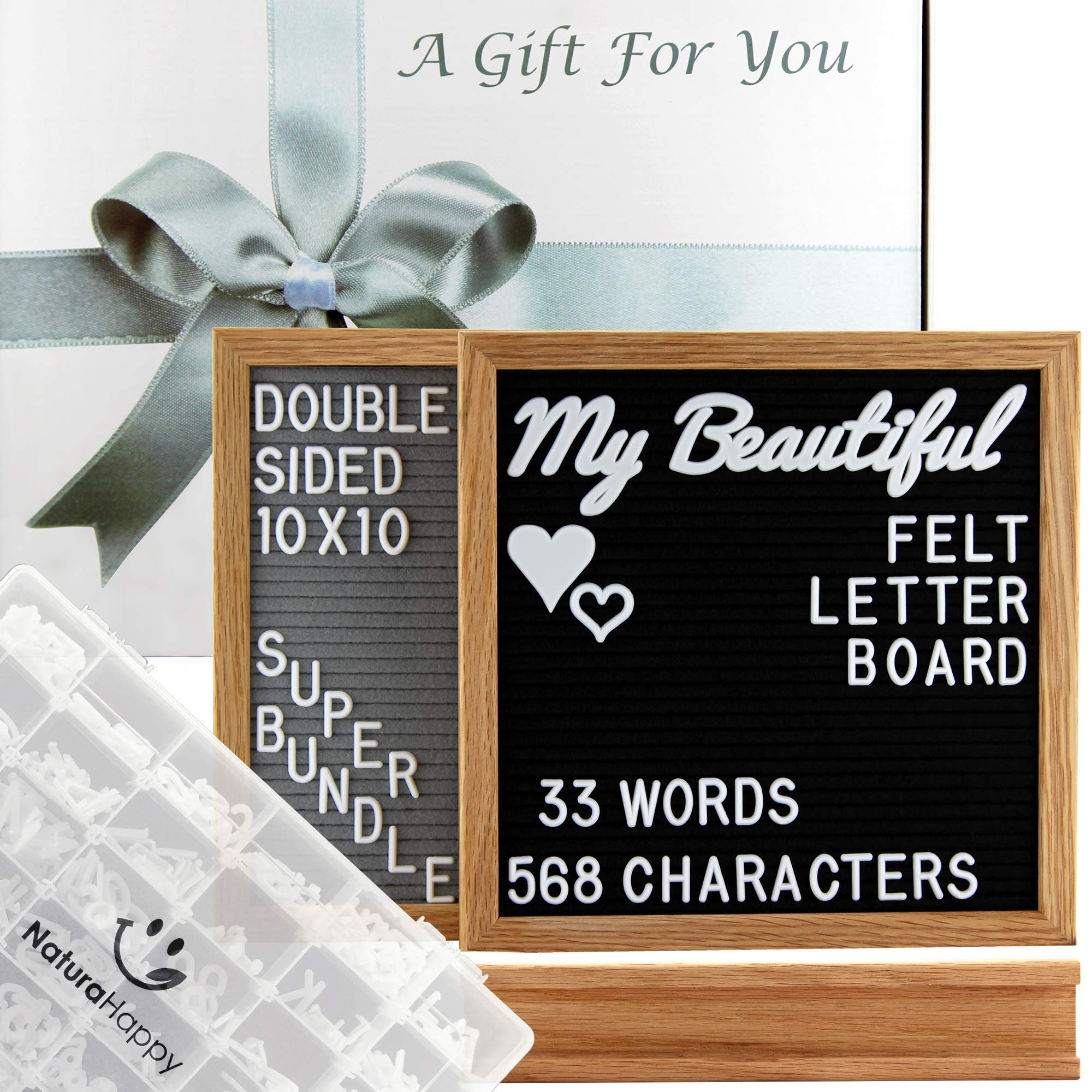 Gray and Black Double Sided Felt Letter Board with Letters 10x10 Inches - Changeable Message Sign - Oak Wood Frame with Stand - 601 White Letters, Words, Emojis, Symbols - Organizer Storage Box