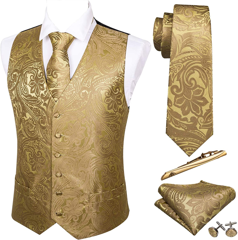 Barry.Wang Formal Men Vest Paisley Jacquard Tie Set Silk Suit Waistcoat Wedding 5PCS