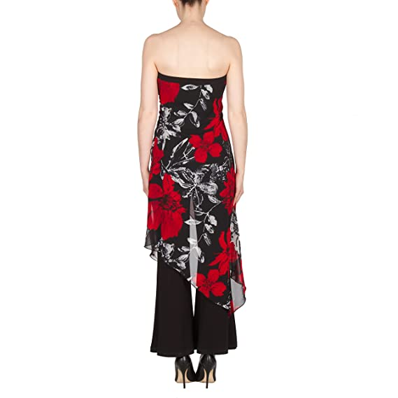 c65d42ccdc81 Amazon.com  Joseph Ribkoff Mock 2-Piece Strapless Jumpsuit With Floral  Chiffon Overlay Style 173620 - Size 8  Clothing