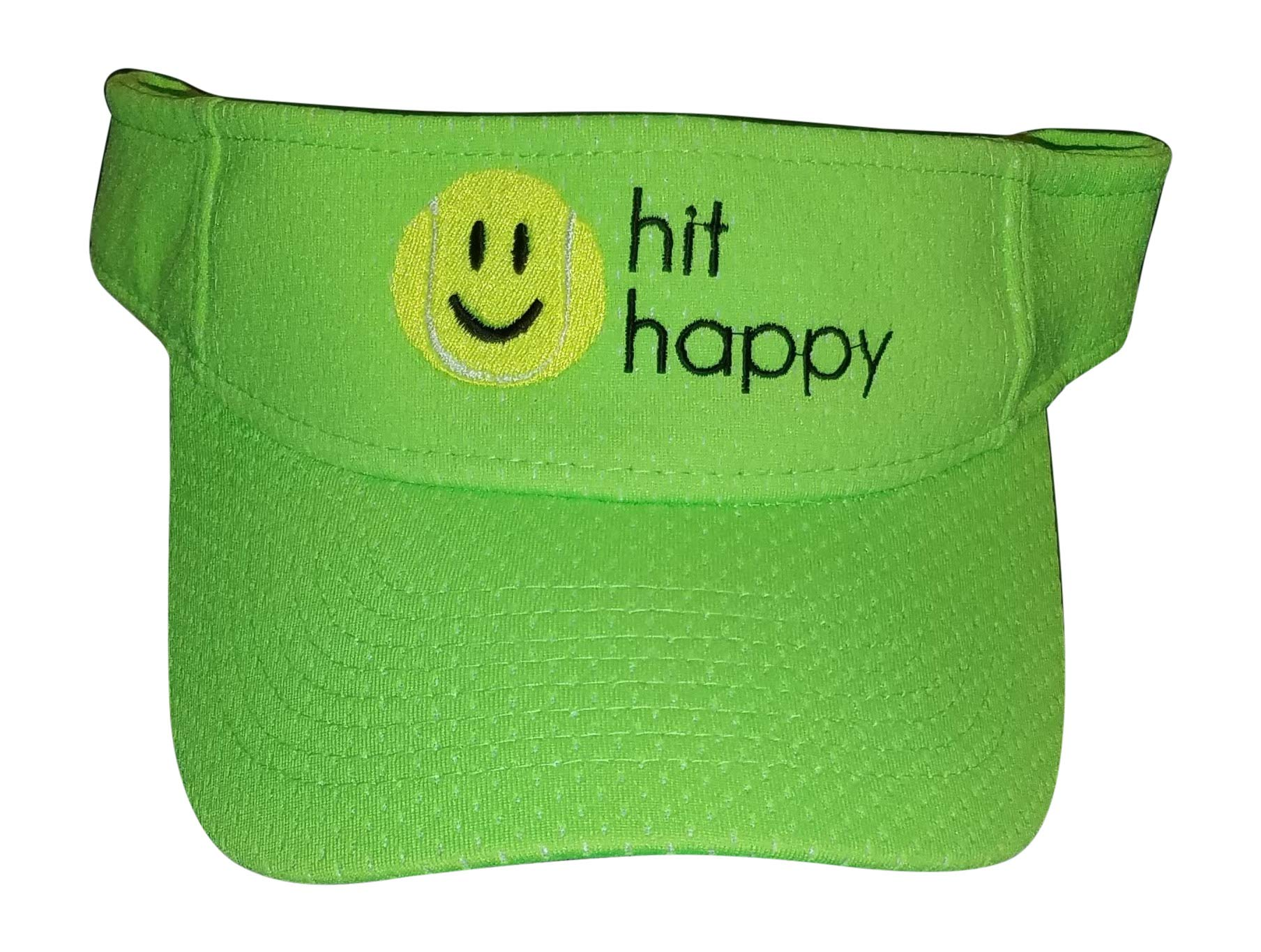 Tennis Visor Hit Happy, Adjustable Strap, Perfect for On The Court Off (Lime Green)