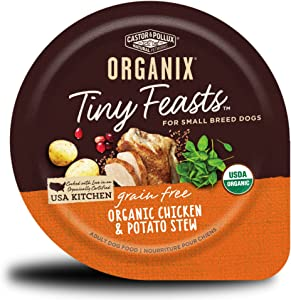 Castor & Pollux Organix Tiny Feasts Grain Free Organic Chicken & Potato Stew Dog Food Trays, (12) 3.5oz cans