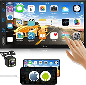 Hieha in-Dash Car Stereo with Bluetooth and Backup Camera, 7 Inch Touch Screen Car Audio receivers Compatible with Apple Carplay and Android AUTO, AM/FM Car Radio Double-din with Voice Control
