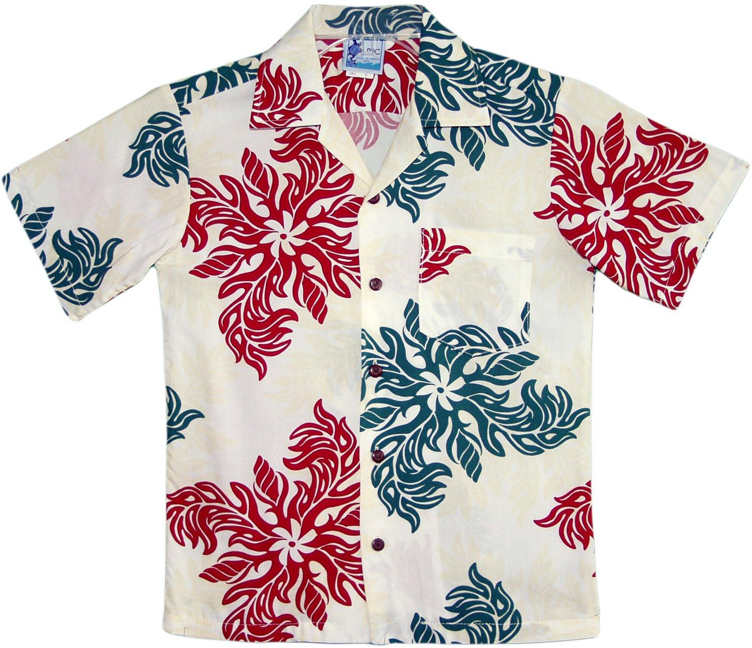 RJC Boys Hawaiian Christmas Snowflake Rayon Shirt Cream 2