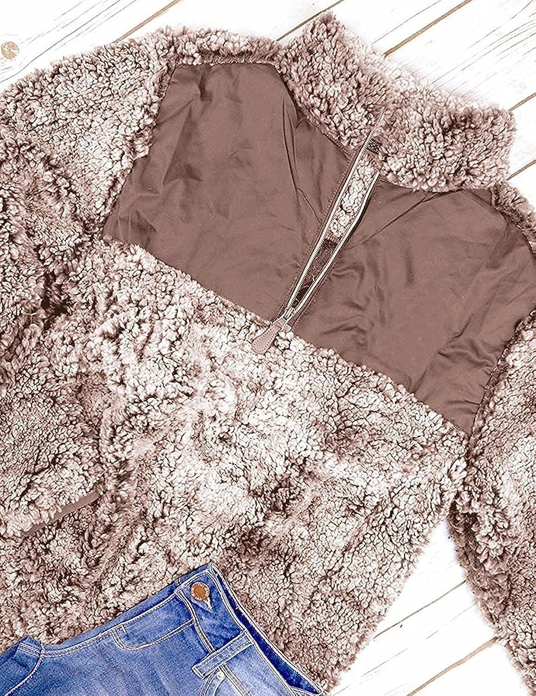 Meilidress Womens Long Sleeve Zipper Sherpa Sweatshirt Fuzzy Fleece Casual Pullover Outwear Coat