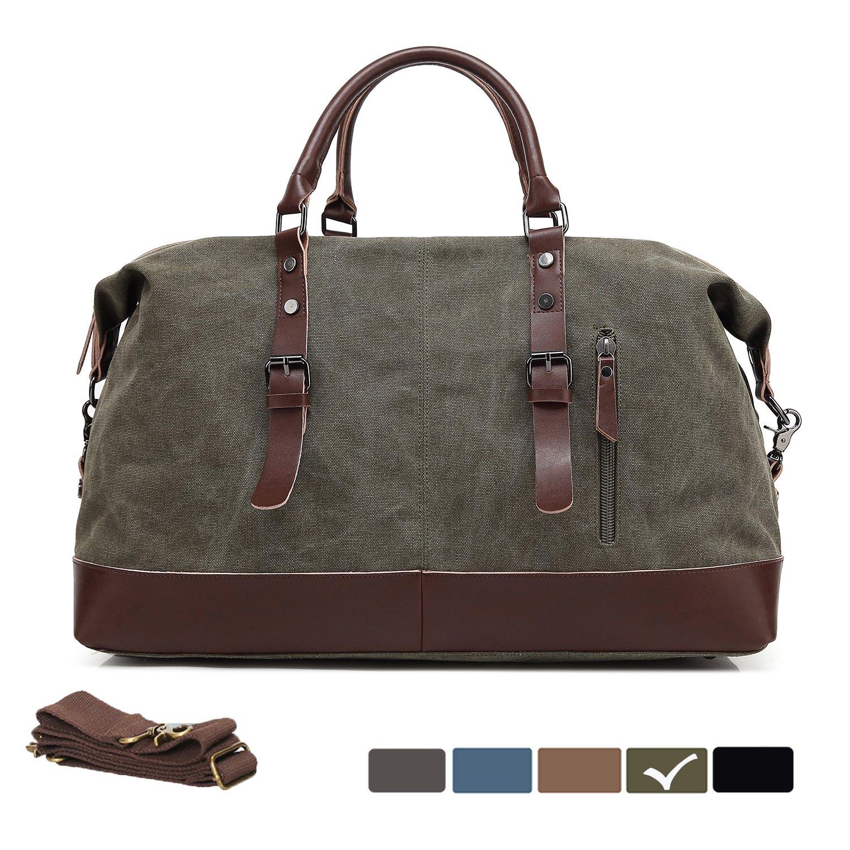 WULFUL Canvas Leather Travel Duffel Bag Oversized Luggage Overnight Bag Shoulder Tote Weekender Bag