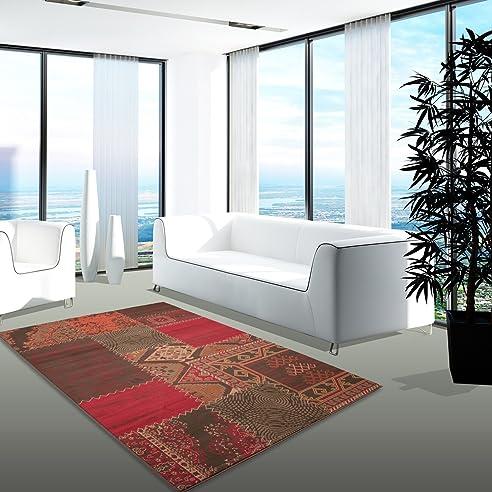 Teppich Modern Desinger Wohnzimmer Chapel Patchwork Rot Braun