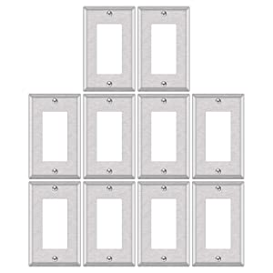"""10 Pack - ELECTECK 1-Gang Metal Decor Wall Plate, Non-corrosive Stainless Steel Light Switch Outlet Cover, Standard Size 4.52"""" x 2.77"""", Silver"""