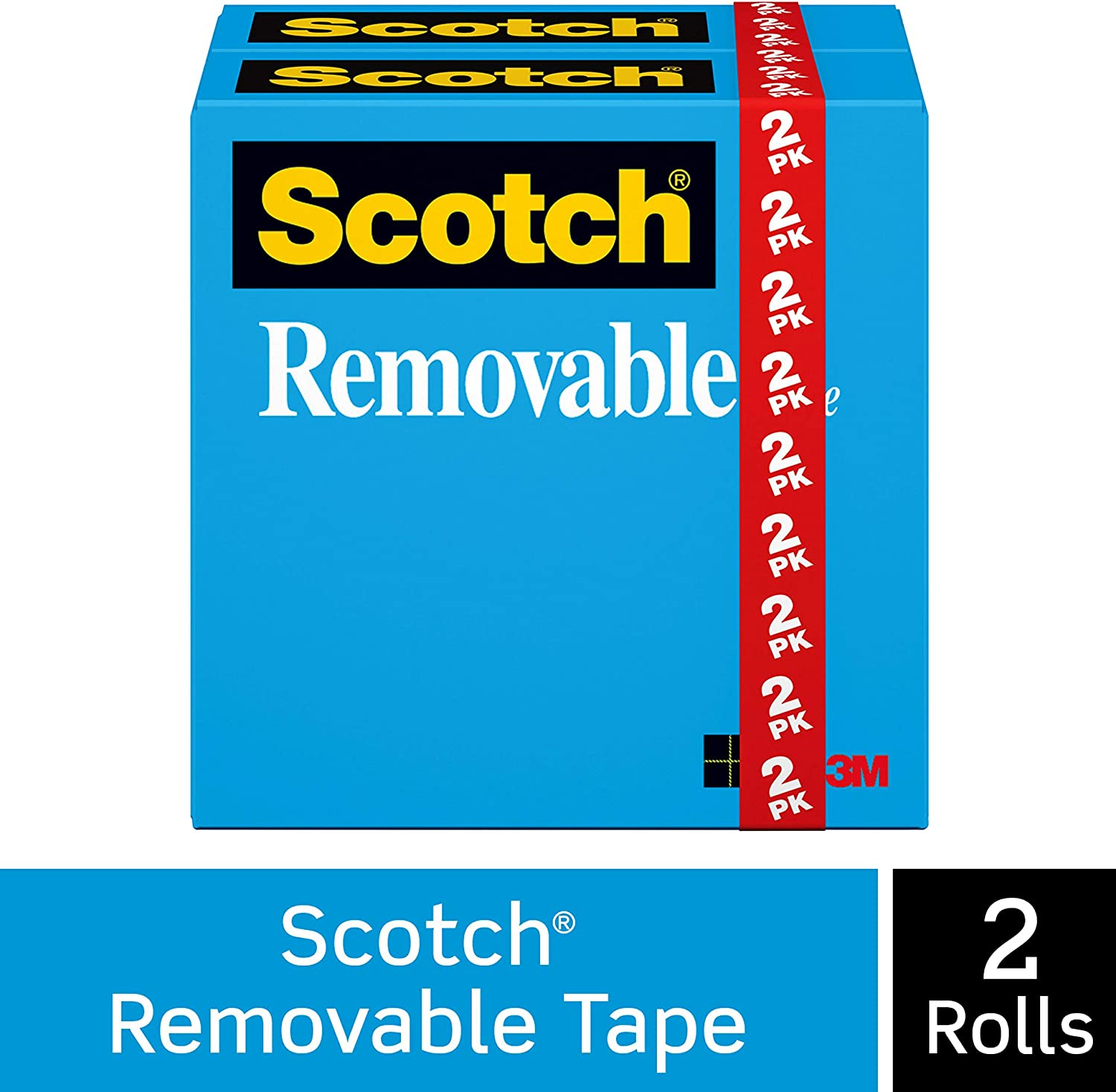 Scotch Removable Tape, Non-Damaging, Invisible, Engineered for Hanging, 3/4 x 1296 Inches, Boxed, 2 Rolls (811-2PK)