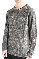 (モノマート) MONO-MART フィッシャーマン ニット セーター クルーネック 起毛 ゆる ケーブル編み 長袖 メンズ