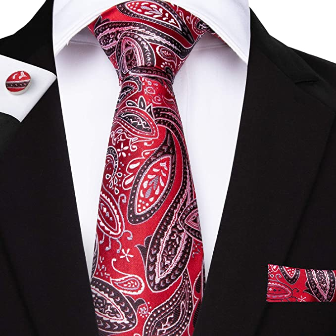 c63841aaa5 Image Unavailable. Image not available for. Color: Red Paisley Tie  Handkerchief Silk Men's ...