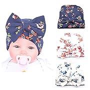 Xinshi Newborn Hat Soft Turban Baby Girl Big Bow Knot Cap (HC02 (3PCS))