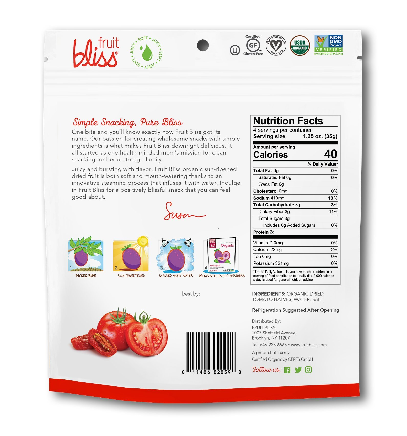 Fruit Bliss Organic Turkish Tomato Halves, 5 Oz - 3 Pack by Fruit Bliss (Image #1)