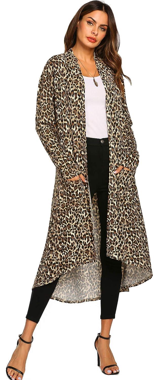 Womens Casual Long Open Front Drape Lightweight High Low Hem Maxi Long Sleeve Cardigan