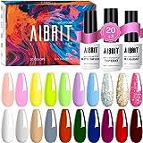 Aibrit 23 Pcs Gel Nail Polish Kit, Soak Off Nail Gel Polish Pastel Nail Polish Neon Gel Polish Starter Kit with Glossy…