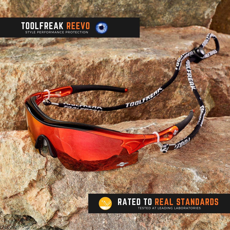 Perfectas Paratrabajo o Deporte Construido Con el Grado de Seguridad Seg/ún EN166FT ToolFreak Reevo Protecci/ón Contra Impactos y Rayos UV Antirreflejo Gafas de Sol de Seguridad Cristal Rojo