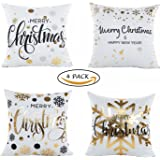 Vamei 4 pezzi di Natale Cuscini Coperture comode custodie cuscino quadrato per Natale decorazione domestica