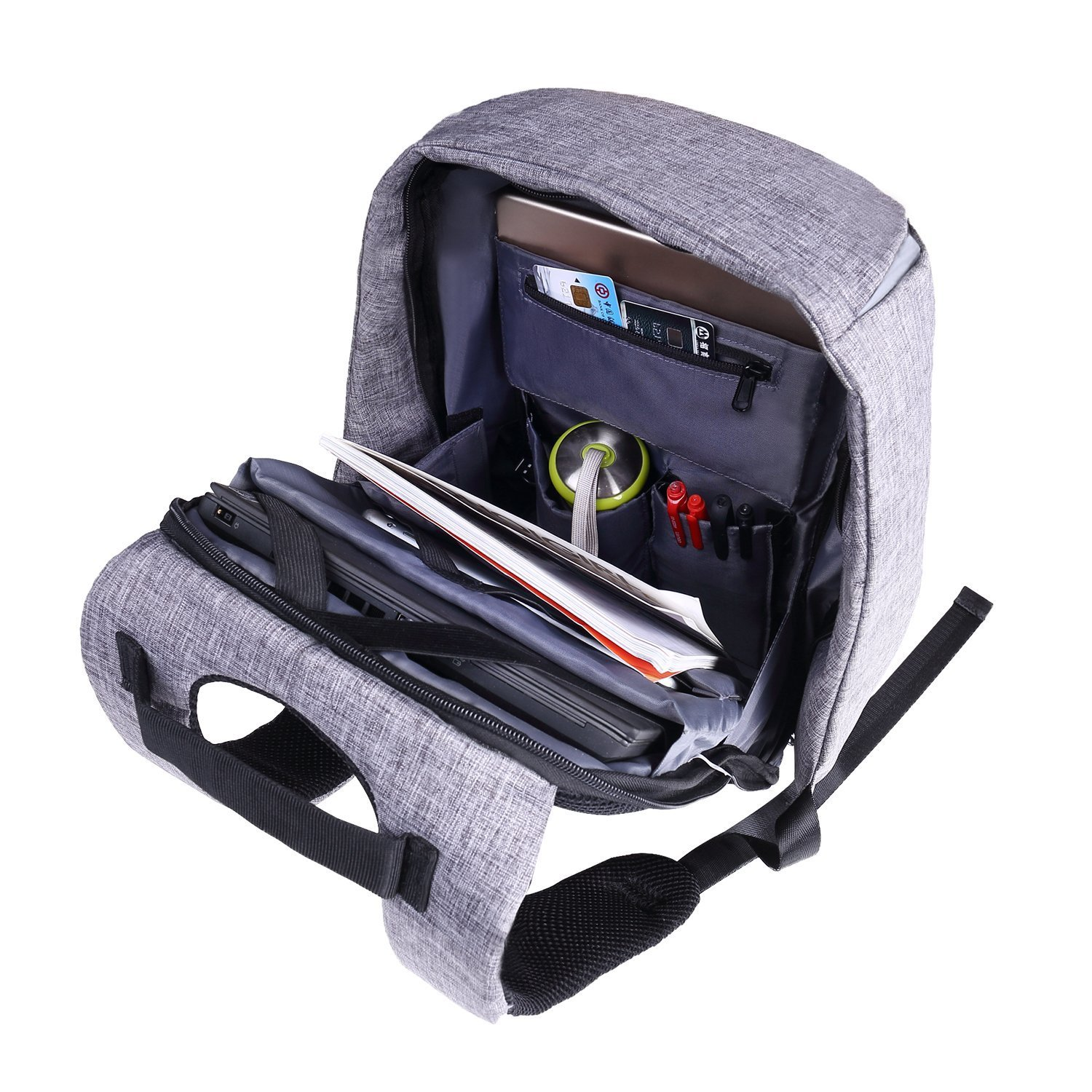 Laptop Backpack business anti-theft waterproof travel computer backpack with USB charging port college school computer bag for women & men fits 15.6 Inch Laptop and Notebook - Grey by Langus (Image #7)