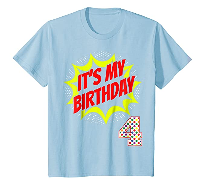 Kids Superhero Birthday Shirt 4 Year Old 4th Party Gift Supplies Baby Blue