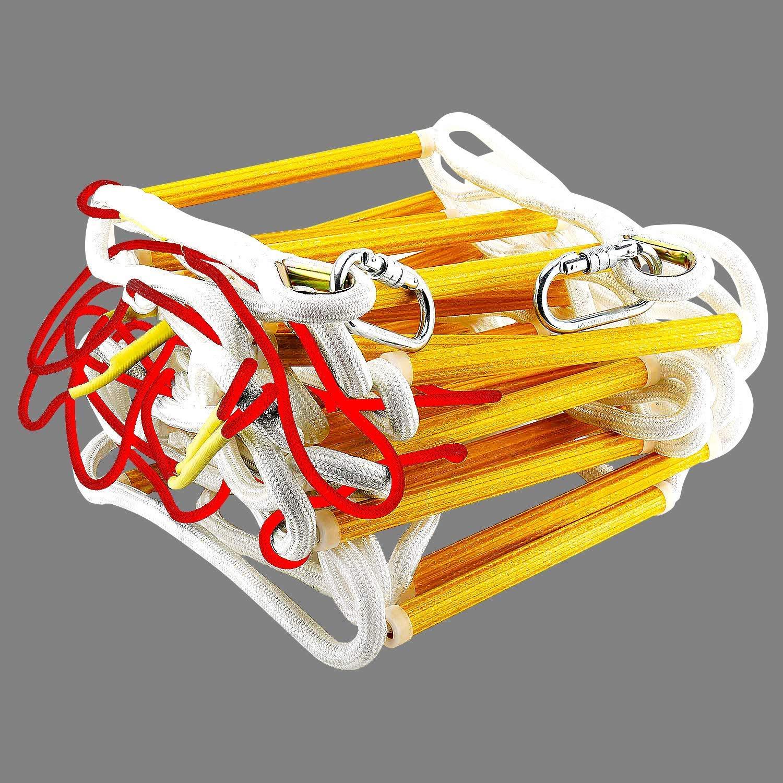Cable de Seguridad y Cintur/ón de Seguridad 32 pies Escalera de Seguridad Resistente a las Llamas con Mosquetones ISOP Escalera de Emergencia Contra Incendios 10 m Reutilizable