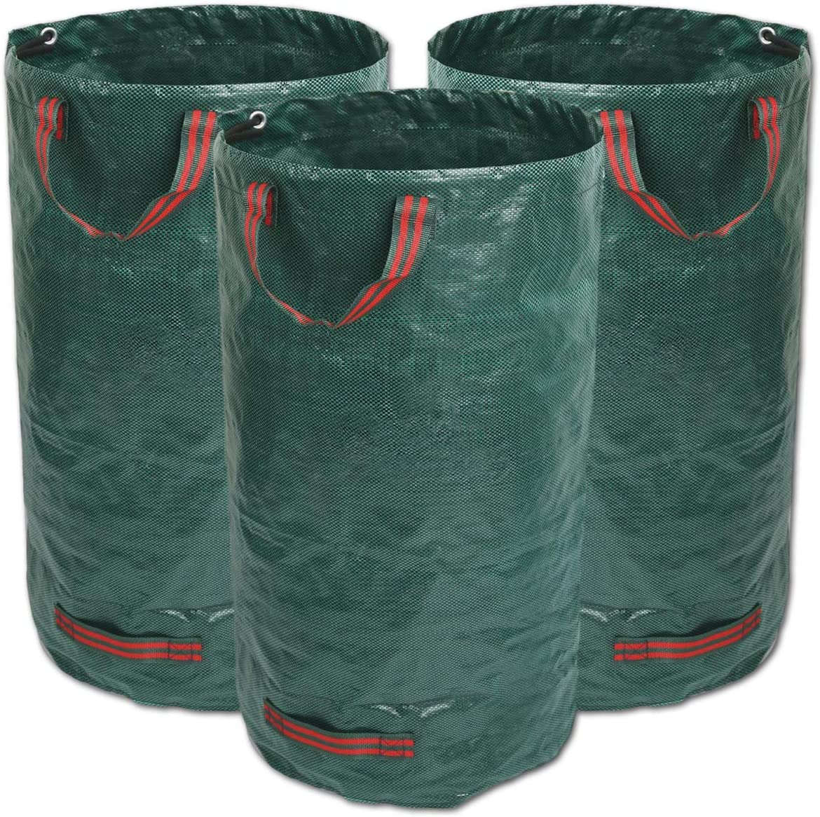 3 GIOVARA 3 x 120L Garden Waste Bags,Waterproof Heavy Duty Large Refuse Sacks with Handles,Foldable and Reusable
