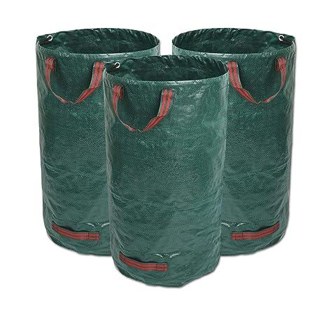 GIOVARA 3 x 272L Bolsas de Basura de jardín, Resistentes al Agua, Grandes Bolsas de Basura con Asas, Plegables y Reutilizables