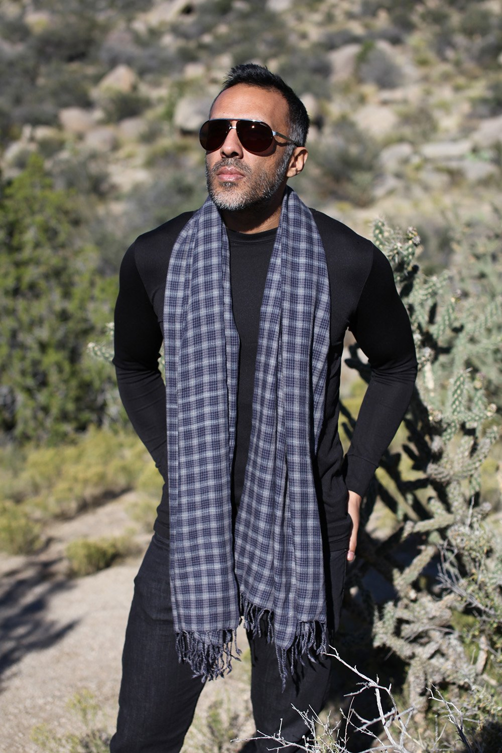 Anika Dali Men's Marco Check Plaid Scarf in Soft Wool with Tassels by Anika Dali (Image #2)
