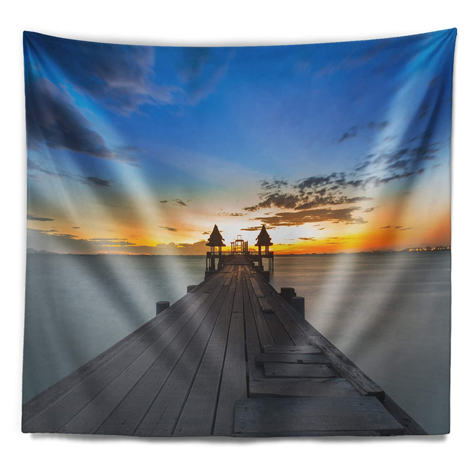 Created On Lightweight Polyester Fabric Medium: 39 in x 32 in Designart TAP10528-39-32 Long Wood Pier Leading to Colorful Sea Bridge Blanket D/écor Art for Home and Office Wall Tapestry