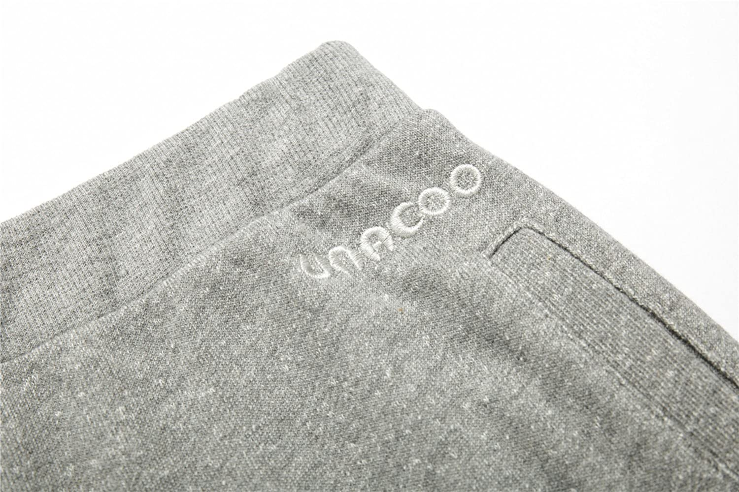 UNACOO Boys Casual Soft Fleece Terry Cotton Pull-on Jogger Pants with 2-Pocket