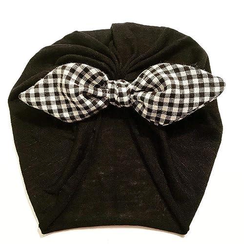 472d1fcd90f38 Amazon.com: Bunny Ear Headwrap Plaid Black+White| Baby Turban|Adult ...