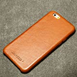 Jisoncase iPhone 6s Genuine Leather Case Back Cover Slim Protective Case Sleek Hard Back Case for iPhone 6 6s Snap on Case Vintage Brown JS-I6S-02A20