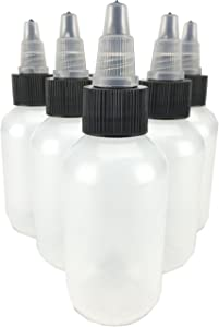Hobbyland Squeeze Bottles, LDPE Plastic Bottles, Natural Boston Round Bottles, Black and Natural Twist Caps (2oz, 6 Bottles)